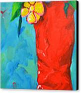 Red Boot With Flowers Canvas Print by Patricia Awapara
