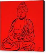 Red Buddha Canvas Print by Pamela Allegretto