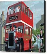 Red Bus Stop Queue Canvas Print by Martin Davey