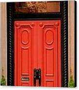 Red Door On New York City Brownstone Canvas Print by Amy Cicconi