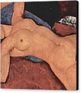 Red Female Nude Painting Canvas Print by Amedeo Modigliani