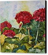 Red Geraniums Canvas Print by Patsy Sharpe