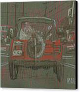 Red Jeep Canvas Print by Donald Maier