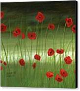 Red Poppies In The Woods Canvas Print by Cecilia Brendel