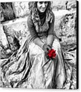 Red Red Rose In Black And White Canvas Print by David Smith