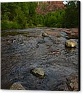 Red River Crossing Under Cathedral Rock Canvas Print by Dave Dilli