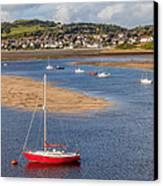 Red Sail Boat Canvas Print by Adrian Evans