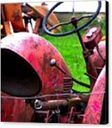Red Tractor Rural Photography Canvas Print by Laura  Carter