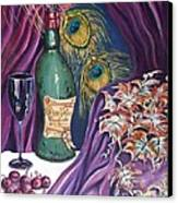 Red Wine And Peacock Feathers Canvas Print by Caroline Street
