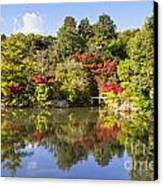 Reflection In Kyoyochi Pond In Autumn Ryoan-ji Kyoto Canvas Print by Colin and Linda McKie