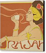 Reproduction Of A Poster Advertising The 'cafe Rajah' Canvas Print by Henri Georges Jean Isidore