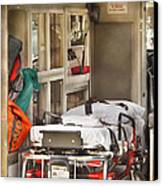 Rescue - Inside The Ambulance Canvas Print by Mike Savad
