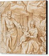 Rest On The Flight Into Egypt Canvas Print by Federico Zuccaro