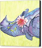 Rhino Whimsy Canvas Print by Mary Ann Bobko