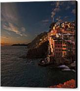Riomaggiore Peaceful Sunset Canvas Print by Mike Reid