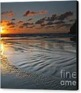 Ripples On The Beach Canvas Print by Mike  Dawson