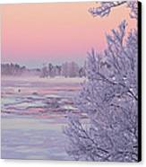 River In Winter Canvas Print by Conny Sjostrom