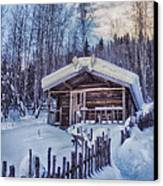 Robert Service Cabin Winter Idyll Canvas Print by Priska Wettstein