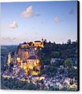 Rocamadour Midi-pyrenees France Twilight Canvas Print by Colin and Linda McKie