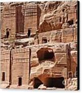 Rock Cut Tombs On The Street Of Facades Petra Jordan Canvas Print by Robert Preston