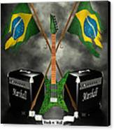 Rock N Roll Crest - Brazil Canvas Print by Frederico Borges