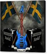 Rock N Roll Crest- Sweden Canvas Print by Frederico Borges