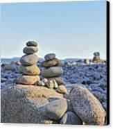 Rock Piles Zen Stones Little Hunters Beach Maine Canvas Print by Terry DeLuco