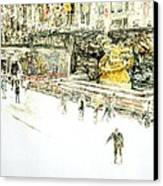 Rockefeller Center Skaters Canvas Print by Anthony Butera