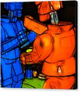 Rockem Sockem Robots - Color Sketch Style - Version 3 Canvas Print by Wingsdomain Art and Photography