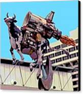 Rocket Cow Sculpture By Michael Bingham Canvas Print by Steve Ohlsen