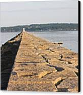 Rockland Breakwater Lighthouse Coast Of Maine Canvas Print by Keith Webber Jr