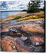 Rocky Shore Of Georgian Bay Canvas Print by Elena Elisseeva