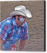 Rodeo Clown Cowboy In Dust Canvas Print by Valerie Garner