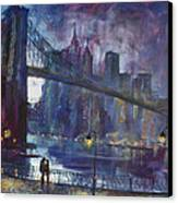 Romance By East River Nyc Canvas Print by Ylli Haruni