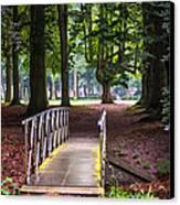 Romantic Bridge To Shadow Place. De Haar Castle Canvas Print by Jenny Rainbow