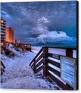 Romar Beach Clouds Canvas Print by Michael Thomas