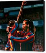 Ronaldinho And Eto'o Canvas Print by Paul Meijering