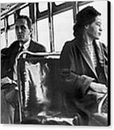 Rosa Parks On Bus Canvas Print by Underwood Archives