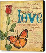 Roses And Butterflies 2 Canvas Print by Debbie DeWitt