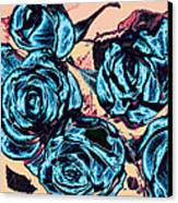 Roses For A Blue Lady  Canvas Print by Wendy J St Christopher