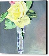 Roses In A Champagne Glass Canvas Print by Edouard Manet