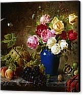 Roses In A Vase Peaches Nuts And A Melon On A Marbled Ledge Canvas Print by Olaf August Hermansen