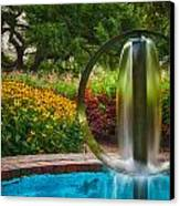 Round Water Sculpture Prescott Park Garden  Canvas Print by Jeff Sinon