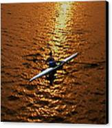 Rowing Into The Sunset Canvas Print by Bill Cannon