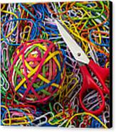 Rubber Band Ball With Sccisors Canvas Print by Garry Gay