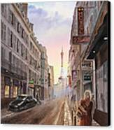 Rue Saint Dominique Sunset Through Eiffel Tower   Canvas Print by Irina Sztukowski