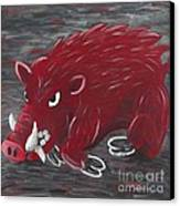 Running Razorback Canvas Print by Mona Elliott
