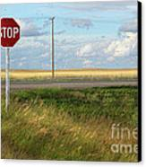 Rural Stop Sign On The Prairies  Canvas Print by Sandra Cunningham