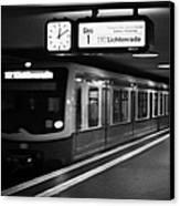 s-bahn train speeding through unter den linden underground station Berlin Germany Canvas Print by Joe Fox