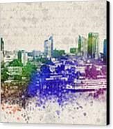Sacramento City Skyline Canvas Print by Aged Pixel